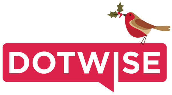 Dotwise red logo with robin